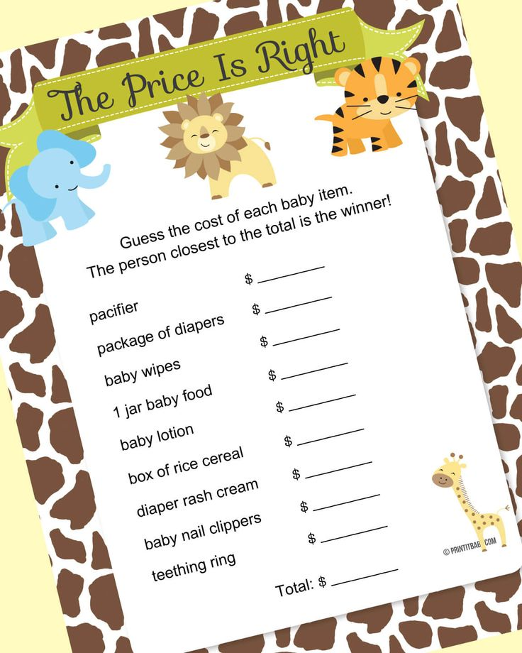 Printable jungle baby shower game ideas