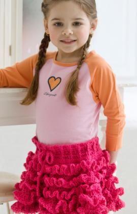 Too Cute Ruffled Skirt Free Crochet Pattern from Red Heart Yarns