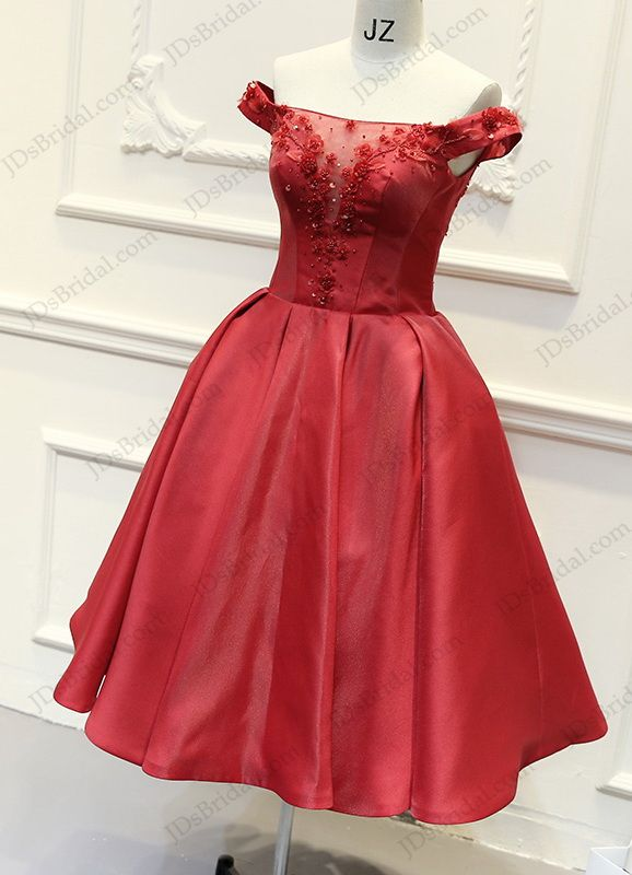 79de256f12 PD16024 Lovely red colored off shoulder tea length school party prom dress