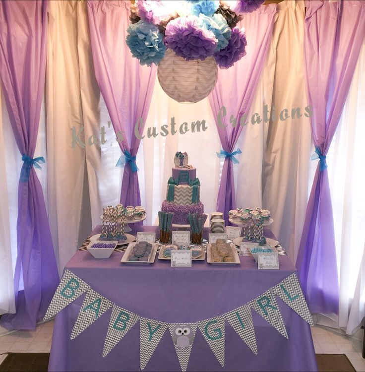 Owl Lavender Turquoise Gray Chevron Baby Shower Backdrop