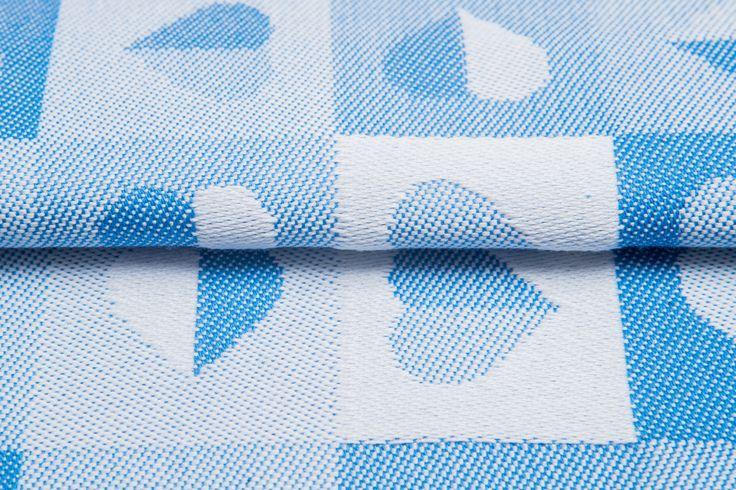 Heartbeat Baby Blue #weavingstudio #fabricart #cottonfabric #heartbeat #grey #babyblue #blue