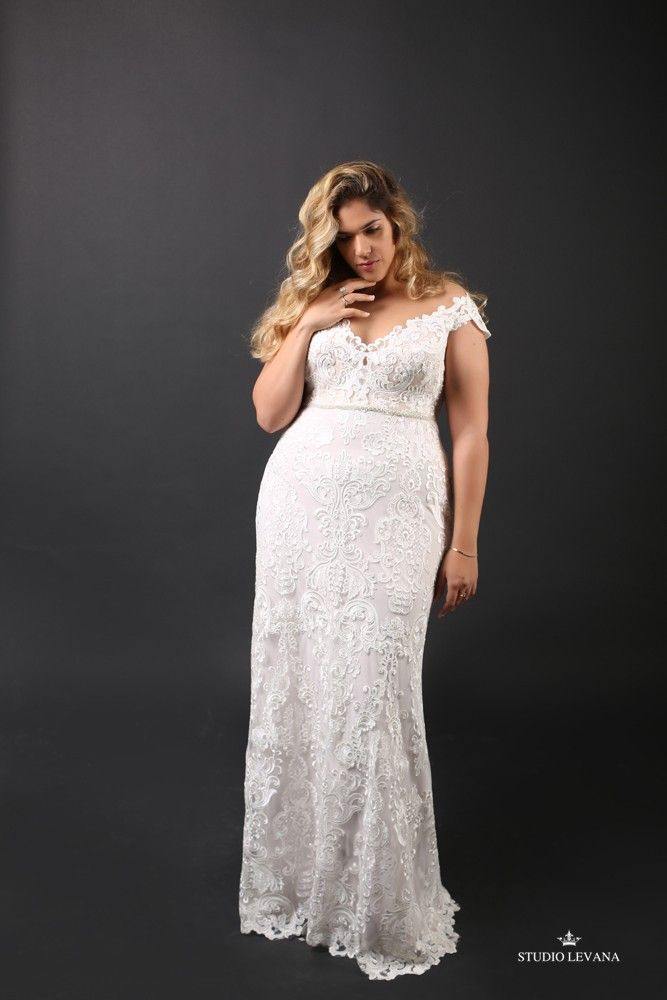 Stunning Adel Plus Size Wedding Gown Super Flattering Lace Pattern And Feminine Off Shoulder Sleeves Dream