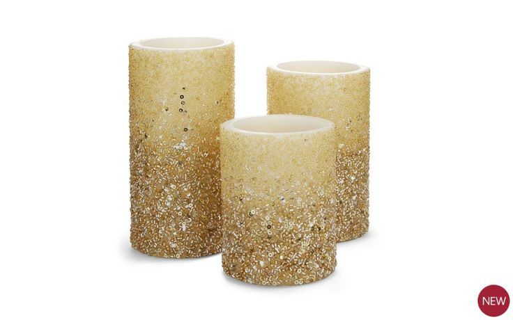 Set of 3 Champagne Sparkle Candle Lights at Laura Ashley
