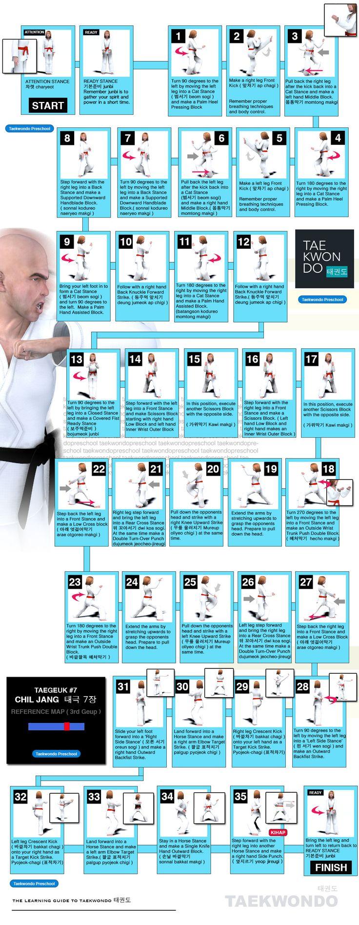 Taegeuk 7 태극 7장 (Taegeuk Chil-jahng) WTF Taekwondo Poomse Map
