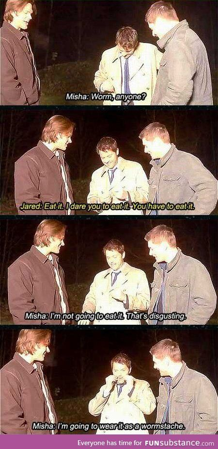 Jared is such a kid daring him to eat it and I can just imagine it