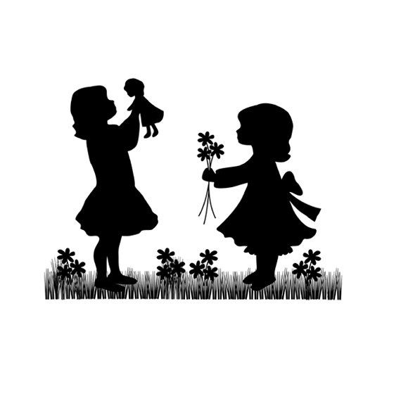 SILHOUETTE CHILDREN MURAL Decal Vintage Play Doll Wall Art Stickers Child Room Baby Girl Nursery Kids Cameo Decor #decampstudios