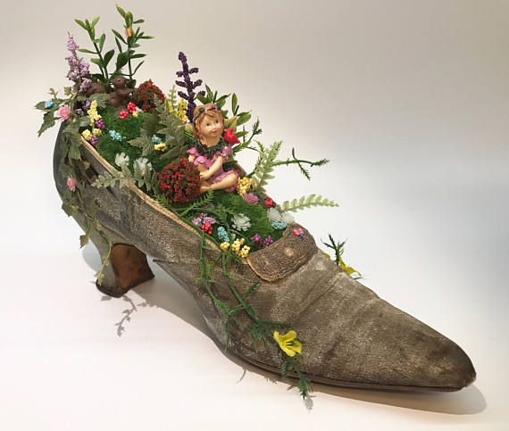 Fairy in a Shoe, Fairy Garden in a Shoe, Shoe with Fairy, CardinalOnTheMantel