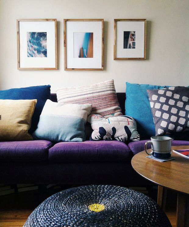 cozy pillows and purple couch #decor #styling
