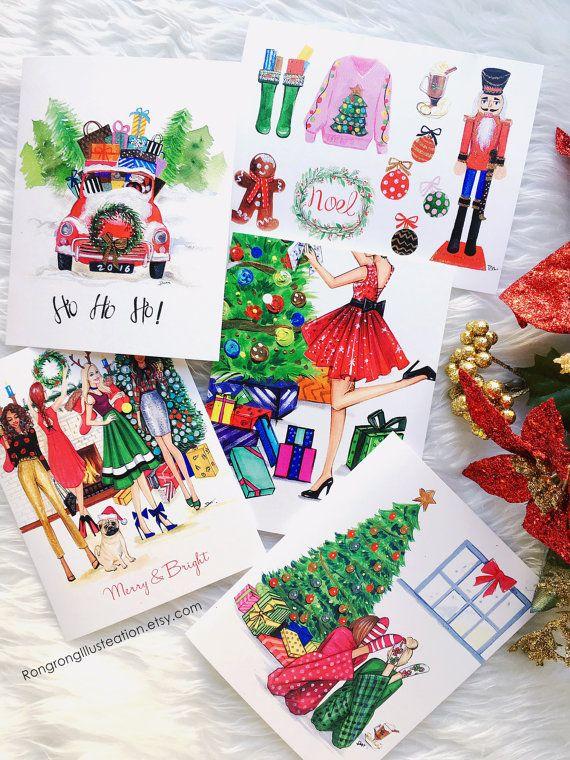 Impostare cartolina di Natale biglietti di di RongrongIllustration