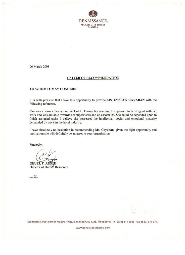 Recommendation Letter From Renaissance Makati City Hotel Hotel Training Renaissance