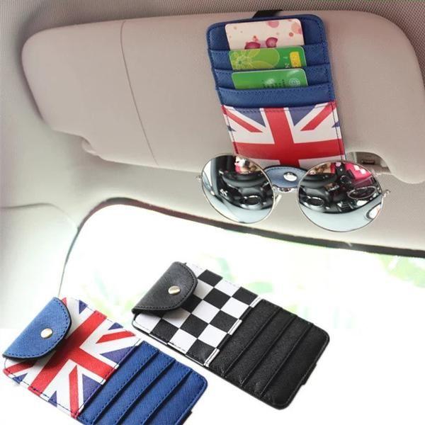UK Jack Union Flag Car Sun Visor Organizer - For Mini cooper - Carsoda - 1