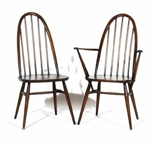 Ercol chaise et fauteuil barreaux en bois teint travail for Chaise a barreaux