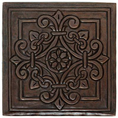 Tl982 square fleur medallion design copper tile maybe for Backsplash medallion