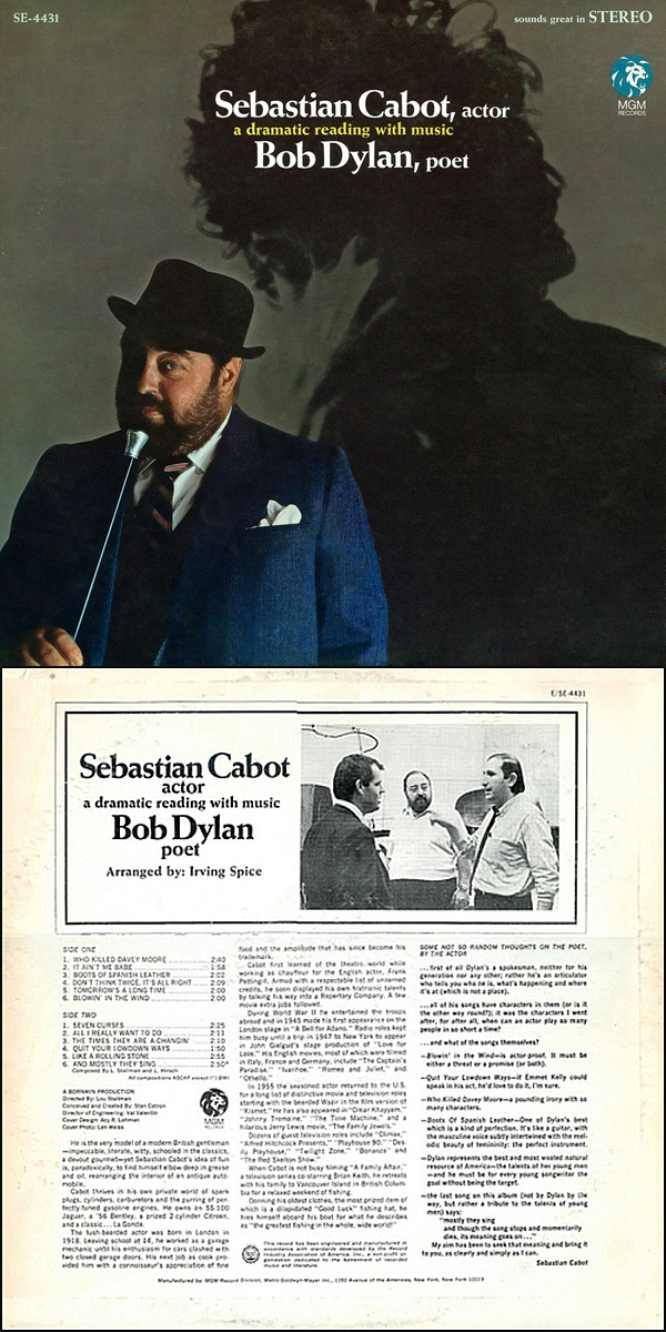 """""""Sebastian Cabot, Actor; Bob Dylan, Poet: A Dramatic Reading With Music"""" — a bizarre 1967 album!"""