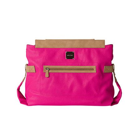 "Alexa - Prima There's electricity in the air, so ride the current! The fabulous shock waves of trendy hot pink are exquisitely captured in the Alexa Shell for Prima Miche bags. She's the perfect ""wow"" accessory that'll light up any neutral outfit. Bright pink faux leather features tan trim and a roomy front zippered pocket. Silver hardware. Base Bag and Handles not included. Price: $39.95"