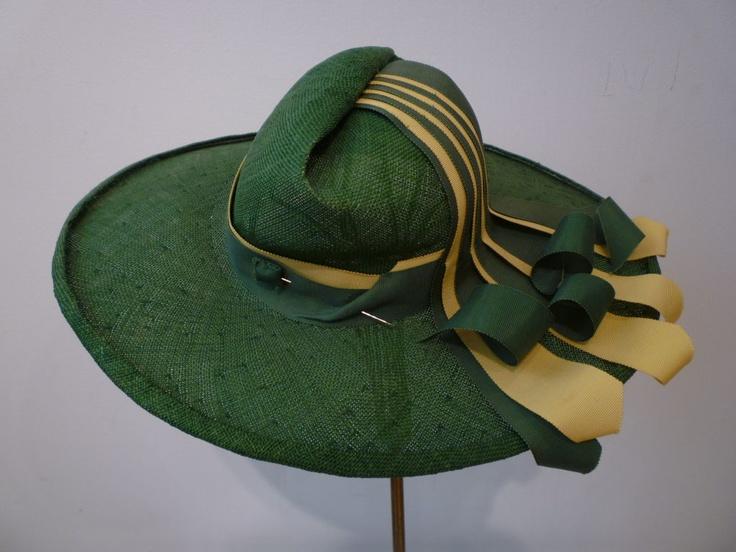 Straw hat with extravagant ribbon trim, 1940's, United States.