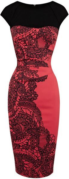 fitted red dress with black half-bodice, cap sleeves, and black lace applique (Cugnasca) (color red)