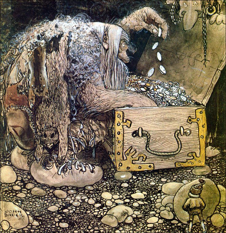 Art by John Bauer (1909) Mitt på golvet stod en öppen kista och sutto två förskräckliga trolls. (Translation from Swedish: Middle of the floor stood an open coffin and sat two terrible trolls.)
