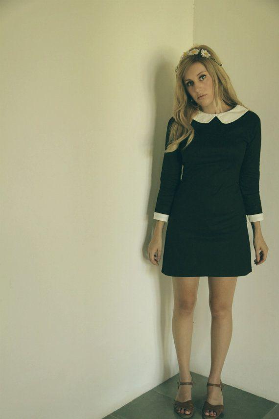 Peter pan collar dress black van FrenchieYork op Etsy, $60.00