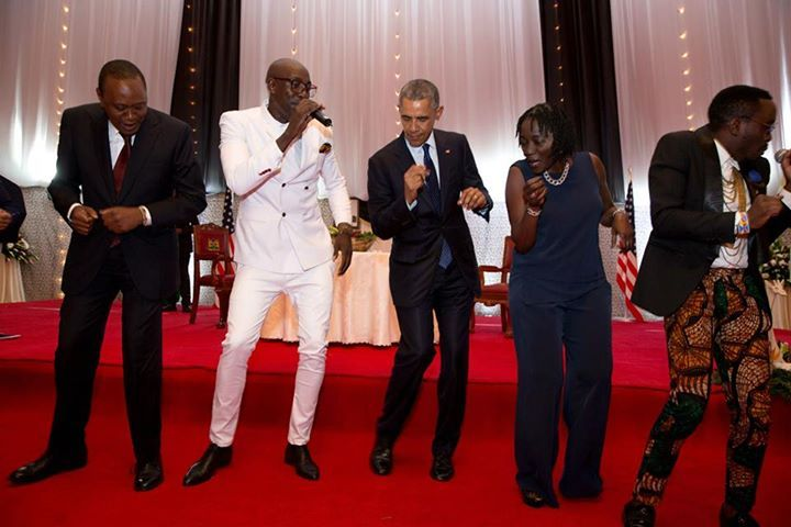 Dancing with sister Auma Obama, President Kenyatta, and others at the State Dinner in Nairobi, July 25. (Official White House Photo by Pete Souza)