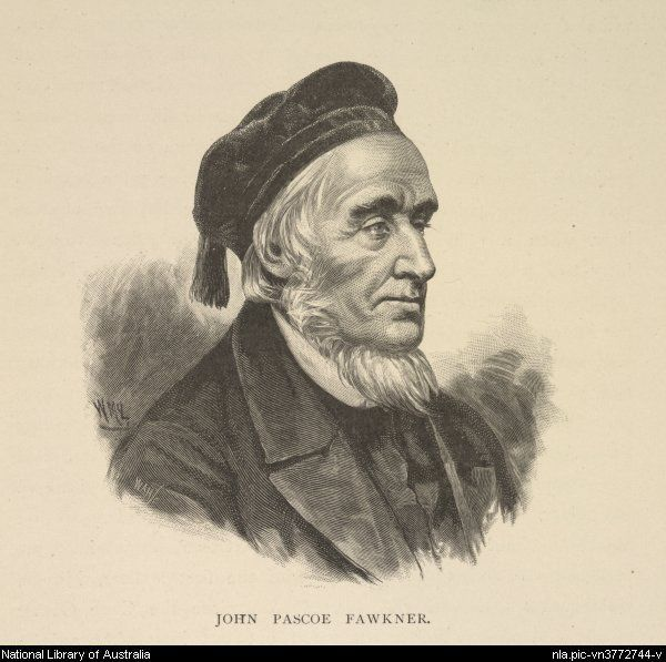 John Pascoe Fawkner from the Picturesque Atlas Publishing Co., 1888. Part of Picturesque atlas of Australasia