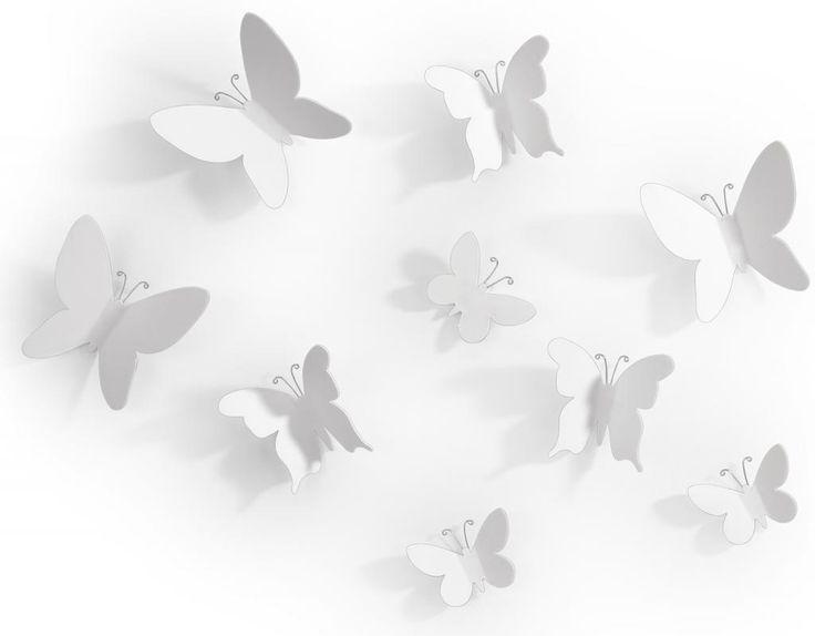 Wanddecoratie vlinders wit (set van 9) - Umbra