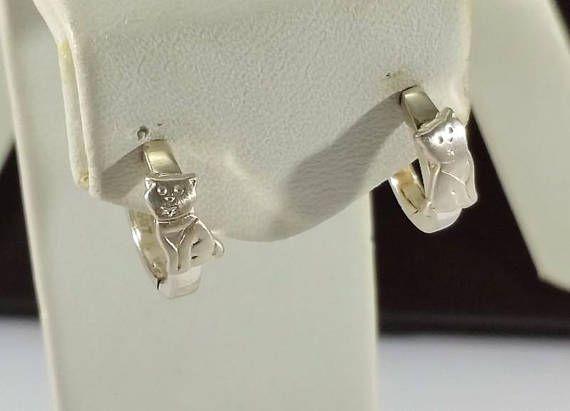 Creolen Ohrringe Silber 925 Vintage Katze Kätzchen SO357