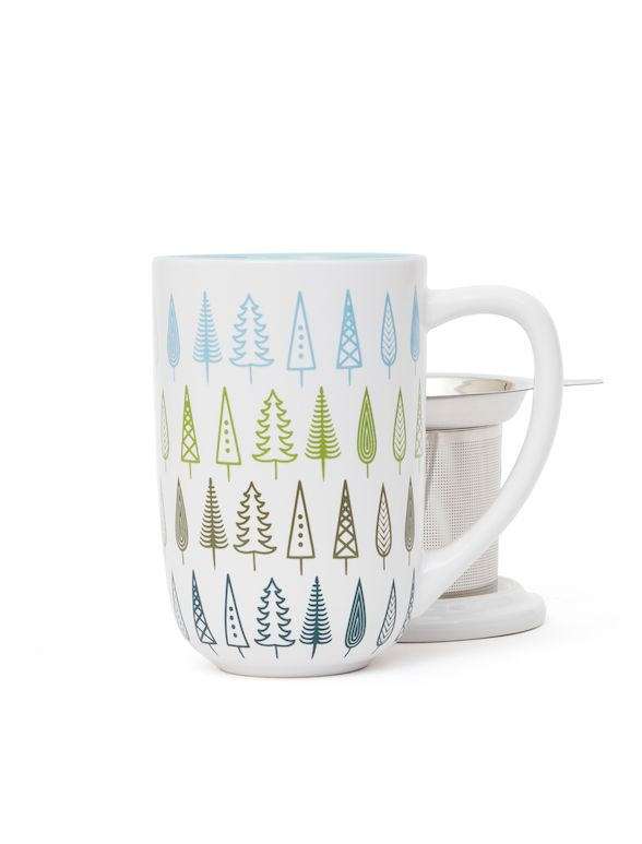 A little forest for your tabletop! Nordic mug with infuser & lid.