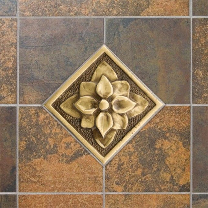 "4"" Solid Brass Wall Tile with Dogwood Flower Design   19.95"