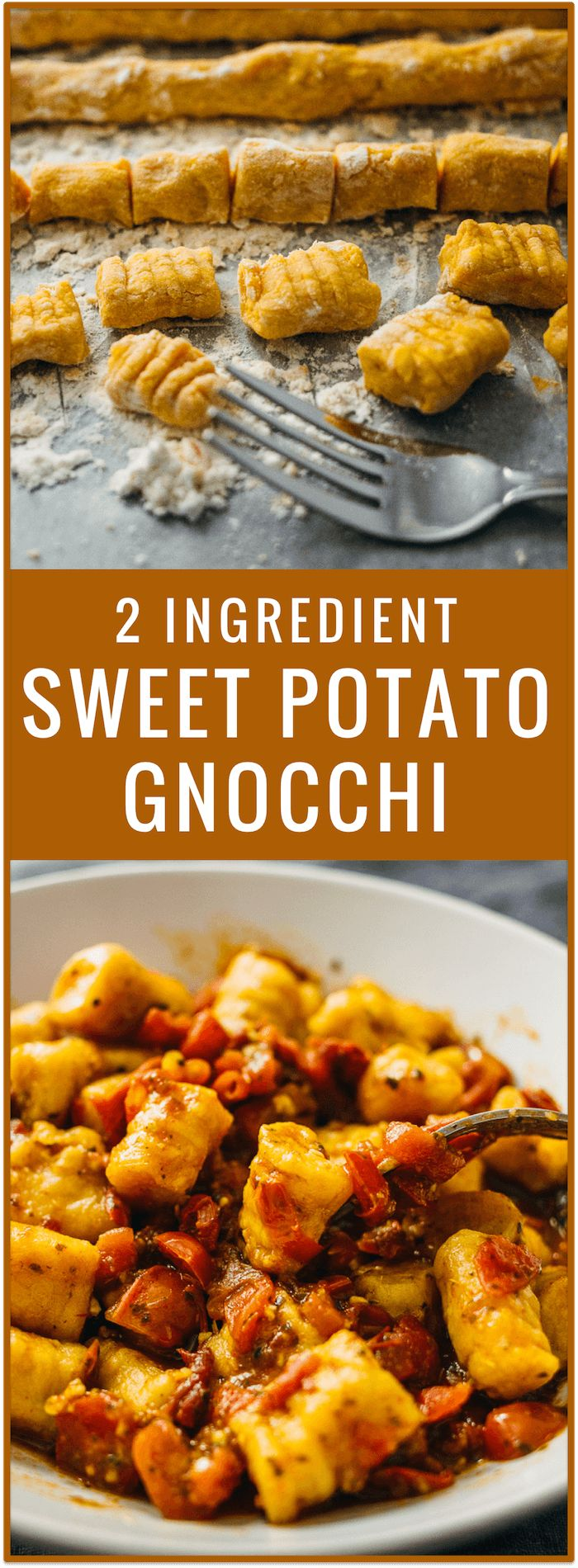 Sweet potatoes and flour are all you need for this vegan recipe. With just 2 ingredients, you'll make soft and pillowy homemade sweet potato gnocchi that beats any store-bought gnocchi. via @savory_tooth