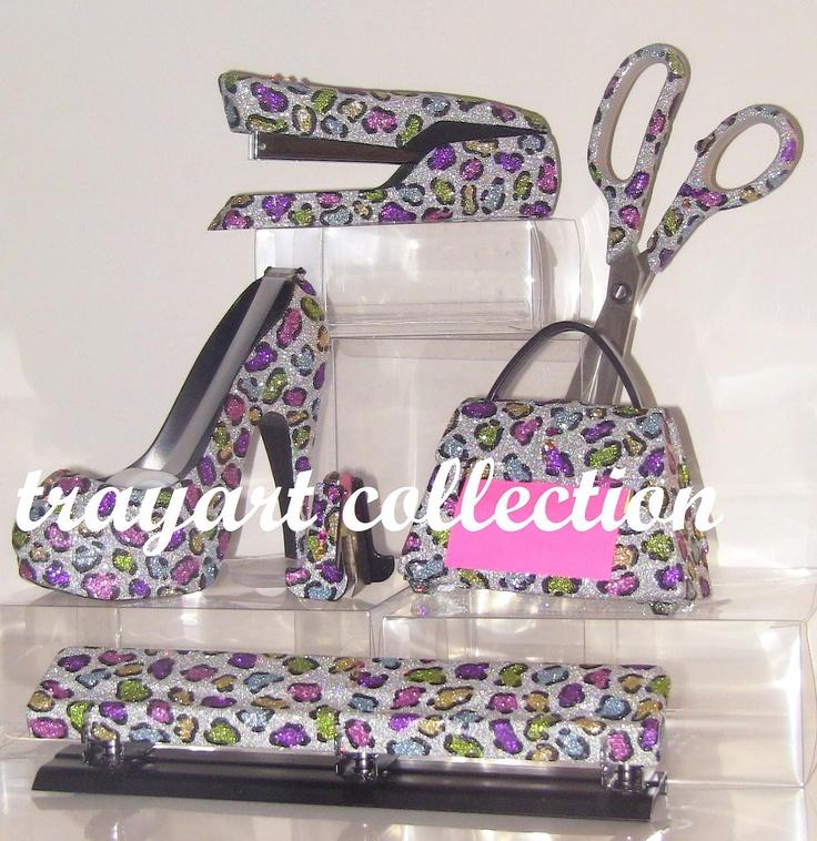 Lovely 6pc Rainbow Leopard Set, Stapler, Scissors, High Heel Tape Dispenser, Purse  Pop