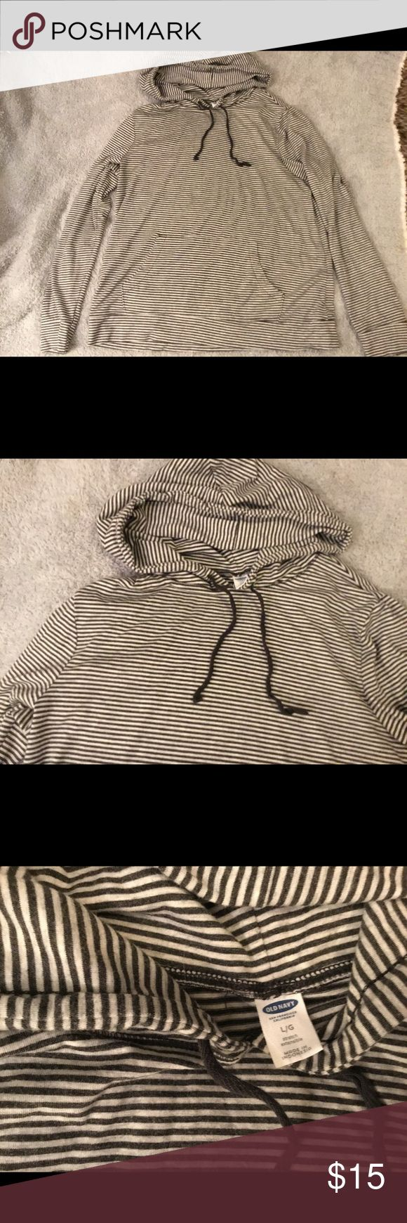 Old Navy Striped Pull Over Top Large Super cute and comfy Old Navy striped long sleeve hooded top in size large. Old Navy Tops Sweatshirts & Hoodies