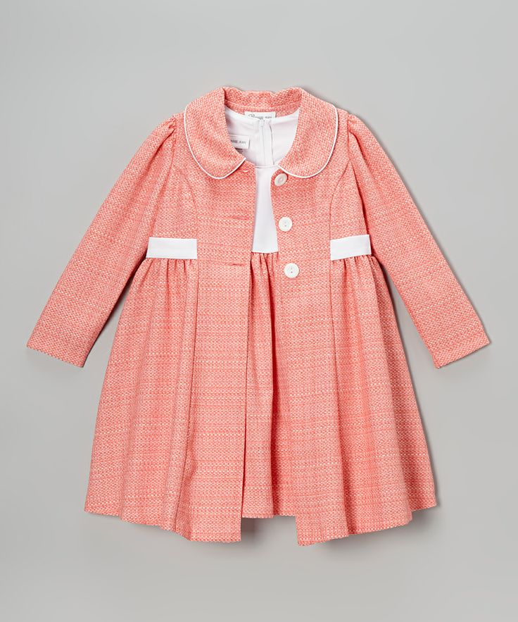 Peach & White Bouclé Dress & Swing Coat