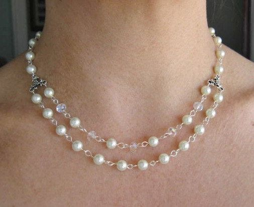 Pearl and Crystal Necklace  Double Strand  White Pearl by EsBello, $17.00