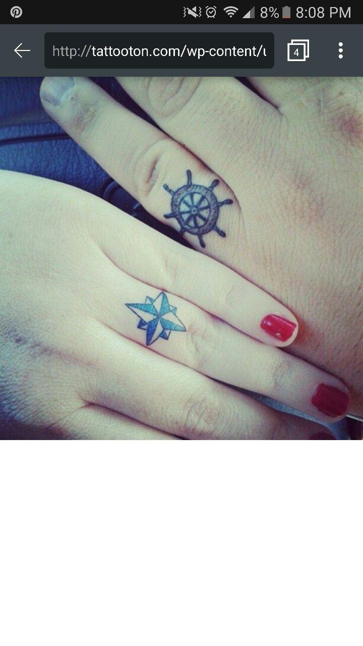 55 romantic wedding ring finger tattoo designs and ideas - Nautical Wedding Ship Wheel Wedding Ring Tattoos Crafting Tattoo Ideas Tatoos
