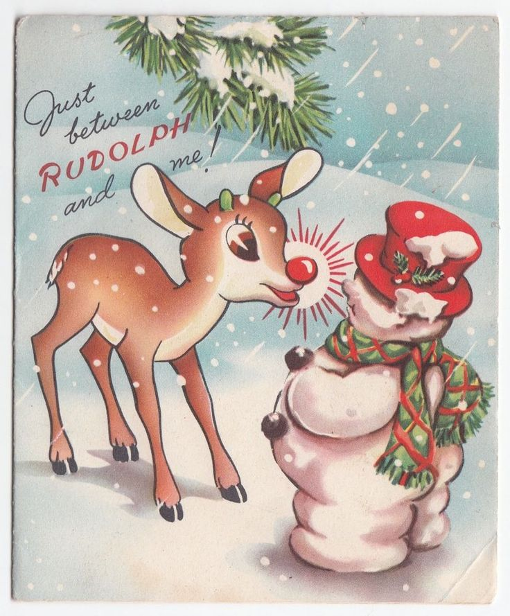 Vintage Greeting Card Christmas Rudolph The Red Nosed Reindeer RLM Snowman 1950s: