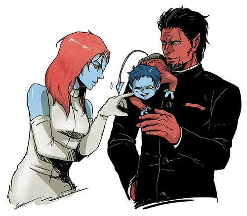 Azazel and Mystique | Marvel comics X Men; Nightcrawler, Azazel,& Mystique... Such a happy ...