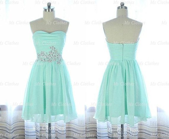 Custom Made Green Aline Strapless Short Prom Dresses by MsClothes, $142.99