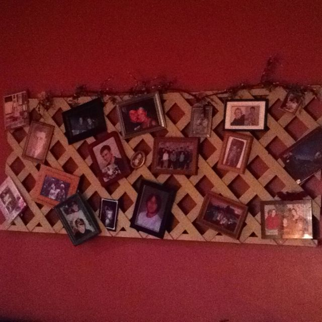 Hang lattice on wall to display photos