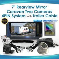 "7"" Rearview Monitor Caravan 2 Reversing Camera 4PIN System Kit CCD Trailer cable"