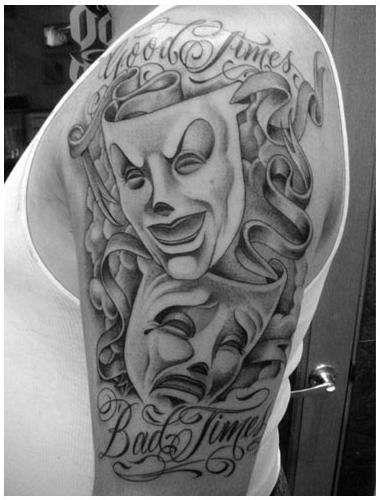 Happy Sad Clown Mask Tattoo Designs photo - 2
