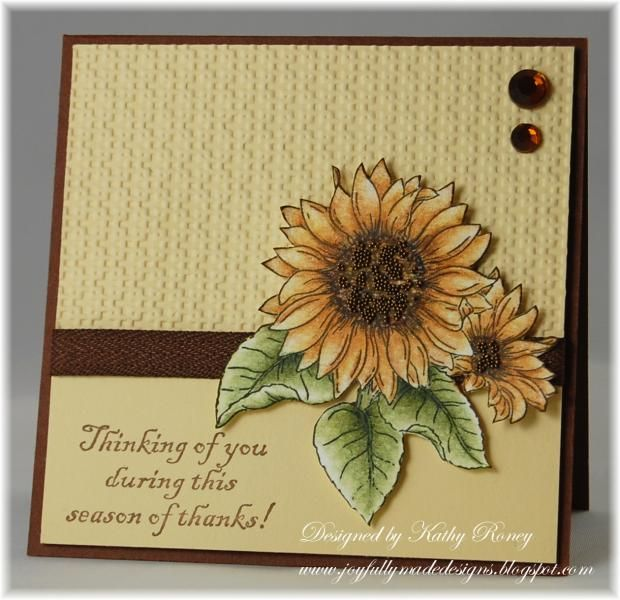 ;handmade Thanksgiving card: Thankful Sunflowers by rosekathleenr  ... wonderful sunflower image water colored ... luv the sprinkling of Antique Copper Microbeads on the center ... rich small-scale embossing folder texture ... delightful card!