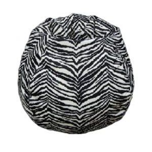 Zebra Animal Print Faux Suede Bean Bag Zebra Animal Print Faux Suede Bean  Bag Pear Shaped Design Offers Back Support Or Rounded Appearance As Needed.
