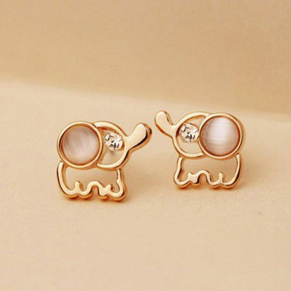 $3.78 Pair Of Delicate Elegant Rhinestone and Opal Design Elephant Shape Stud Earrings For Women
