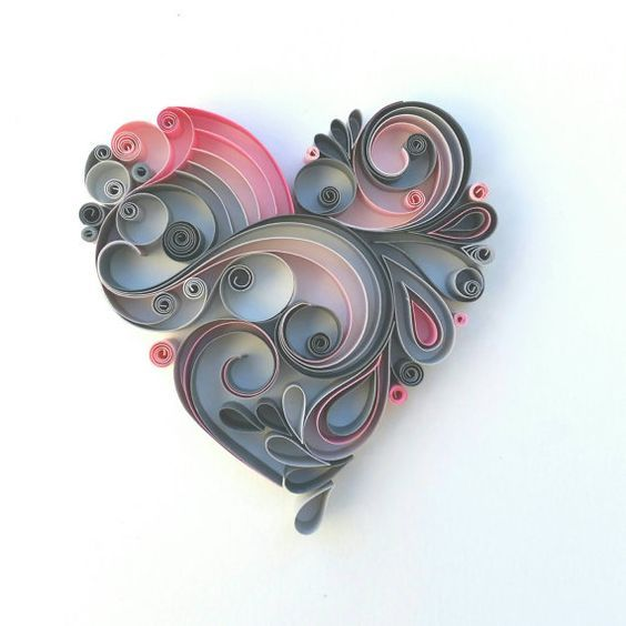 Quilled heart in pink and grey. Wedding gift. Anniversary gift. Love heart.: