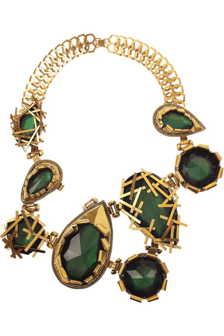 Erickson Beamon Family Jewels oversized 22-karat gold-plated Swarovski crystal necklace....