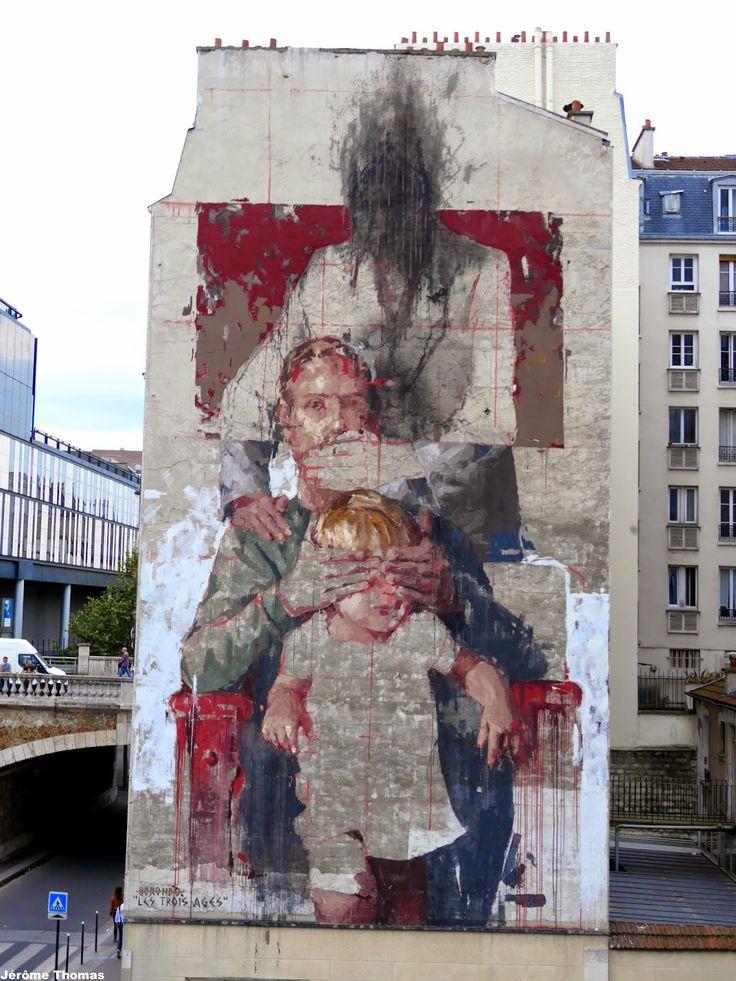 """Borondo paints """"Les Trois Ages"""", a new mural in Paris, France"""