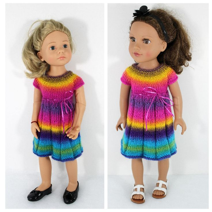 """Knitted dress for Journey girl doll, Gotz 18"""" doll and other 18"""" slim fit dolls. Outfit for doll. by CSKrafdollscloset on Etsy"""