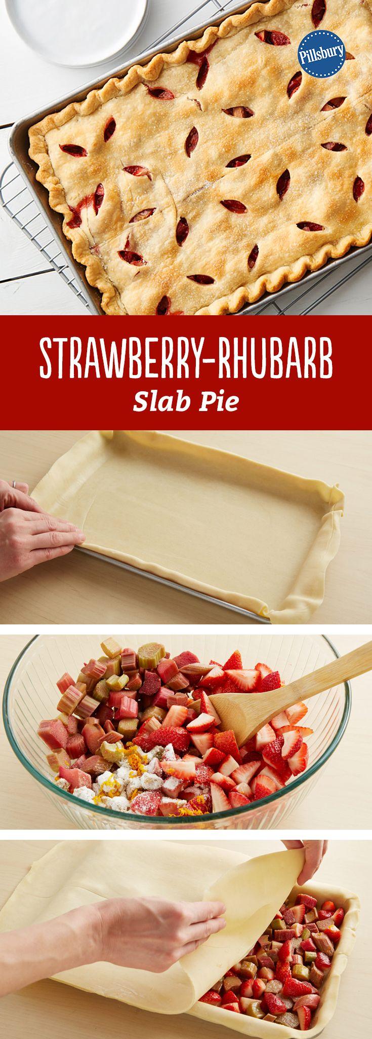 Summer is here! And this fresh Strawberry-Rhubarb Slab Pie will be you favorite dessert recipe to bring to BBQs, picnics and potlucks. It preps in just 20 minutes and serves 24 people!