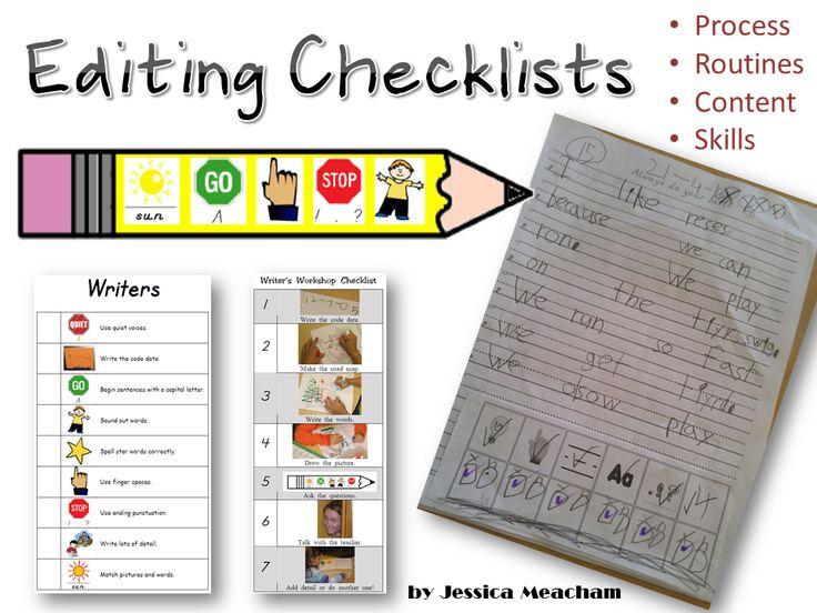 Editing Checklists: Labels, Glue On, Wall, Bookmarks - Pencil Wall Editing Checklist